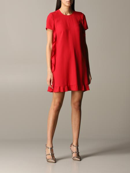 Red Valentino silk dress with ruffles