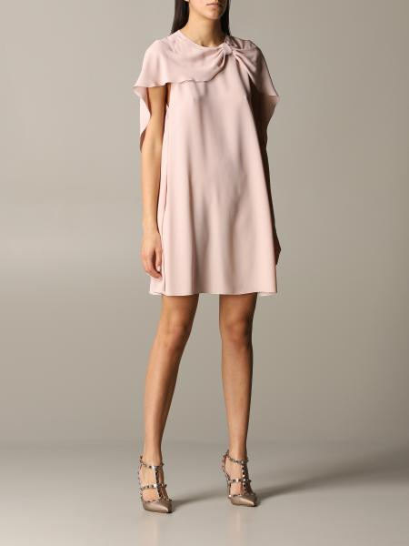 Red Valentino silk dress with cape sleeves