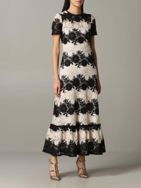 Red Valentino two-tone macramé dress