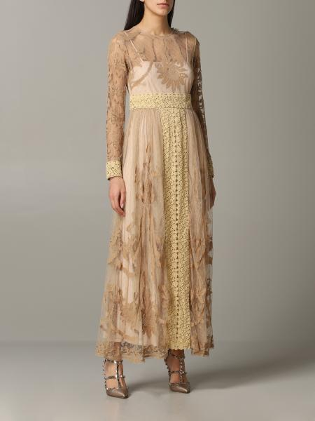 Red Valentino long dress in point d'esprit tulle and lace