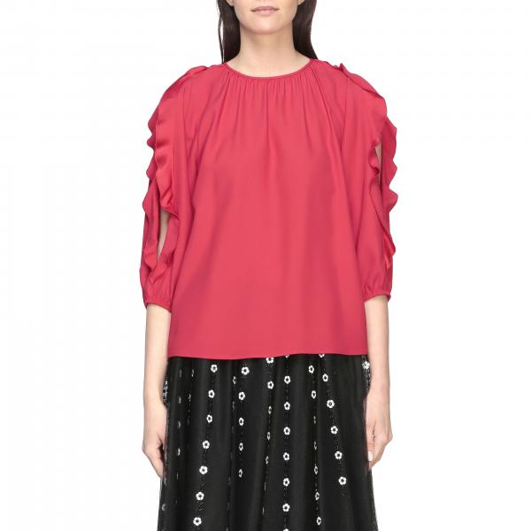 Red Valentino round-neck satin shirt with ruffles