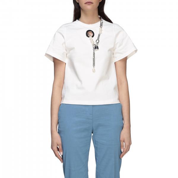 T-shirt Furba Pinko Uniqueness a girocollo con catena