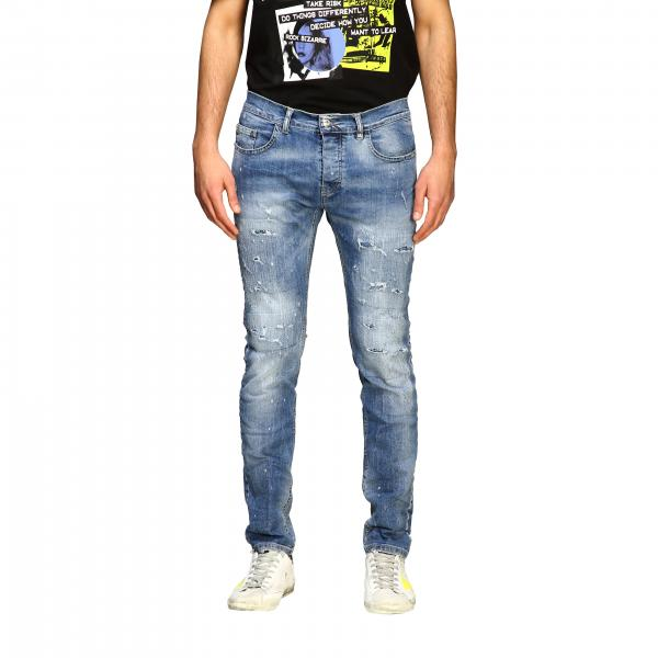 Jeans Frankie Morello skinny in denim used stretch con rotture