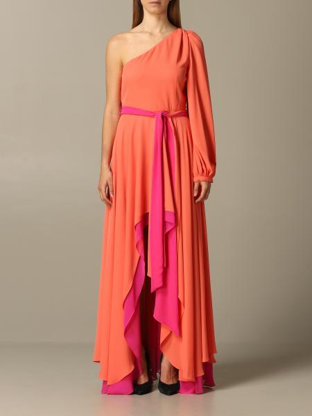 Dress long hanita one-shoulder dress in georgette doubled with belt Hanita - Giglio.com