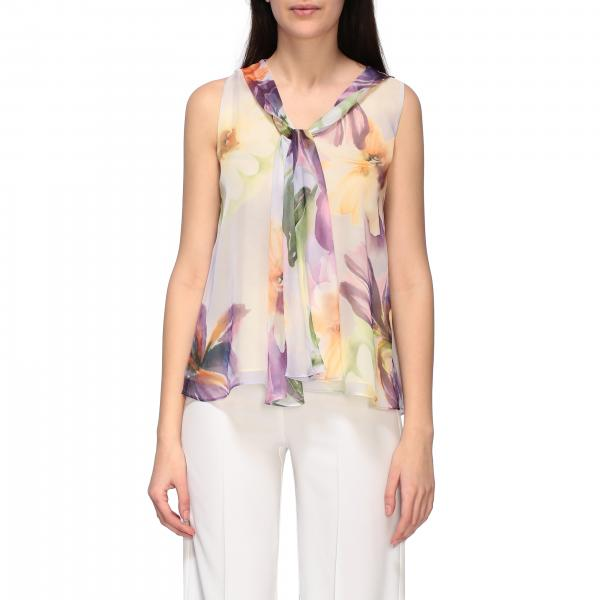 Top H Couture in chiffon a fantasia floreale