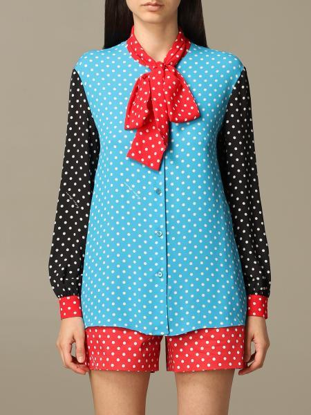 Блузка Boutique Moschino из крепа в горошек с бантом