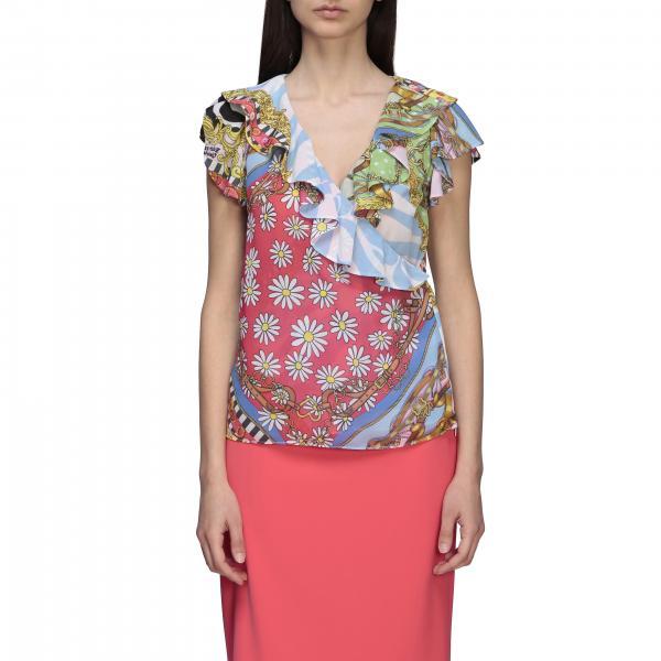Senza maniche rouches fiori mix stampa