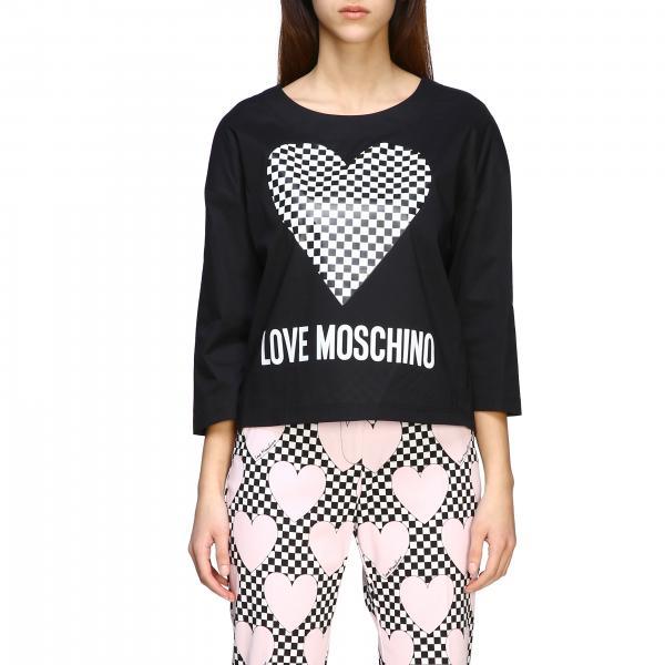 Love Moschino T-Shirt mit mikro-kariertem Herzen