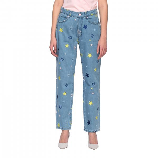 Jeans Love Moschino boyfriend con ricami di stelle all over