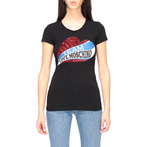 Love Moschino logo和心形亮片装饰短袖T恤