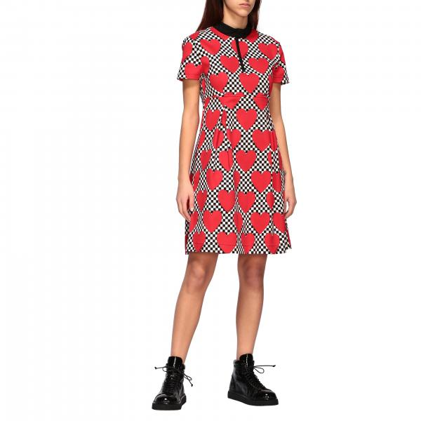 Love Moschino cotton dress with all over heart print
