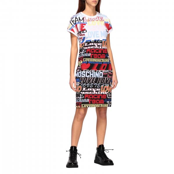 Love Moschino cotton dress with all over logo prints