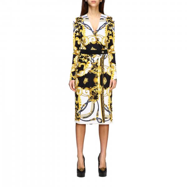 Versace jersey dress with baroque print