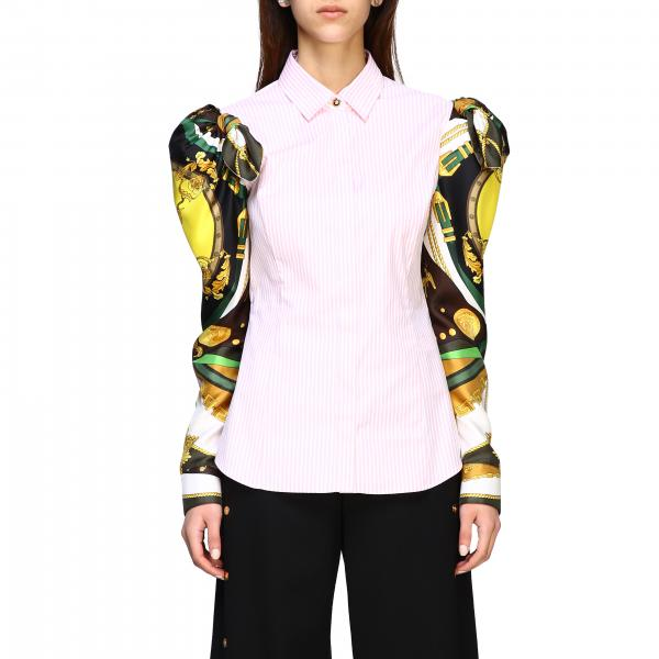 Versace striped cotton shirt with printed rodeo sleeves