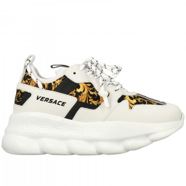 Sneakers Chain Reaction 2 Versace in pelle e tela stampata