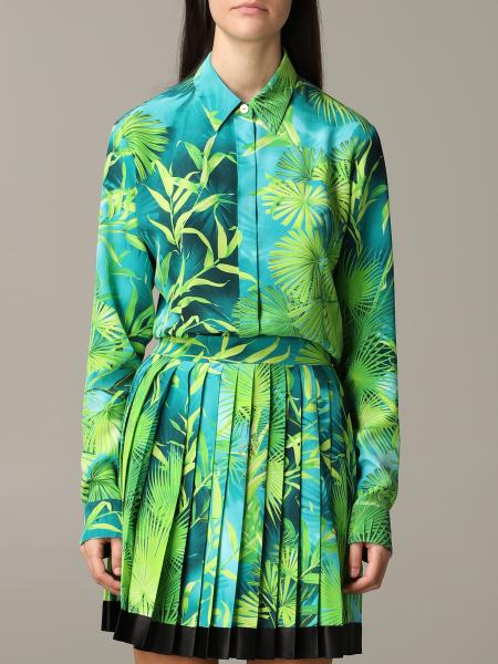 Versace shirt in silk twill with jungle print