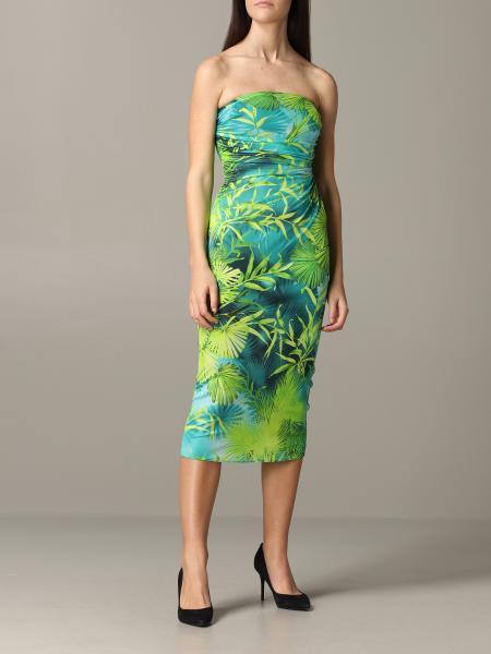 Versace décolleté dress with jungle print