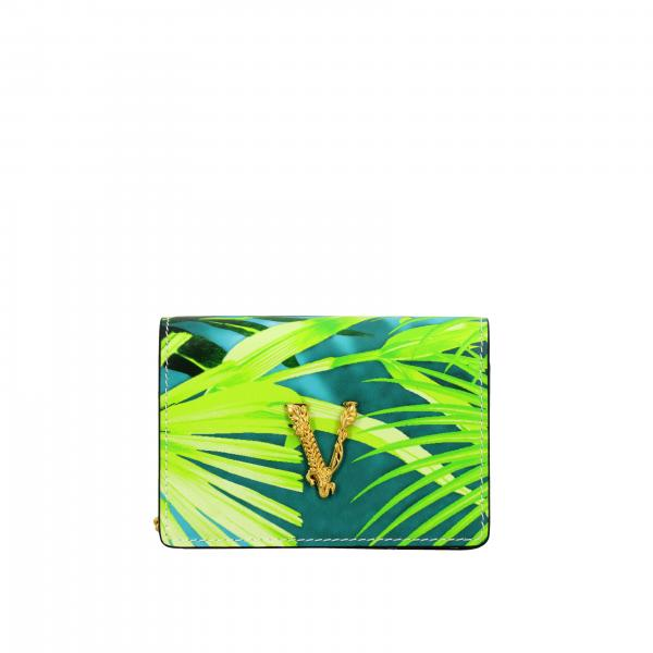 Borsa mini Versace in pelle stampa jungle con V Virtus