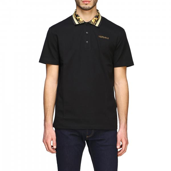 Versace short-sleeved polo shirt with baroque logo and patterned collar