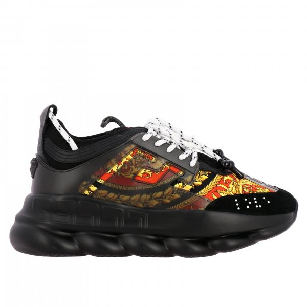 Sneakers Chain Reaction Versace in pelle e rete con stampa barocca