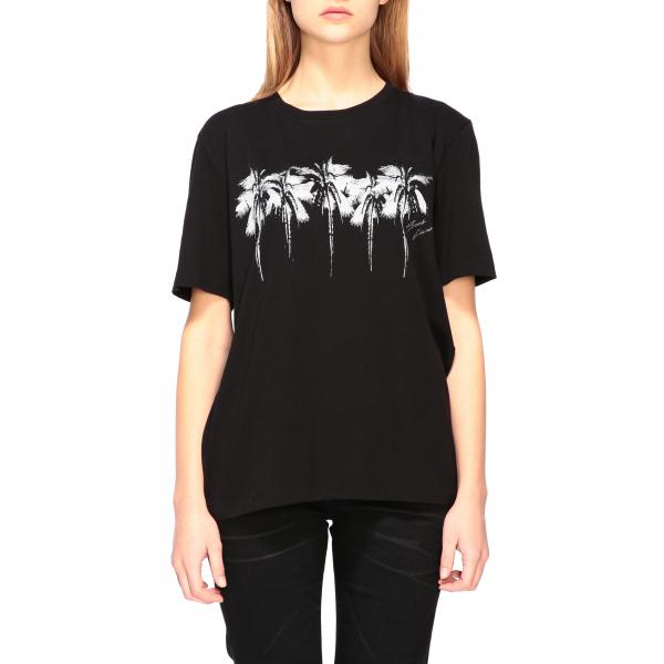 Crew neck Saint Laurent t-shirt with palm print