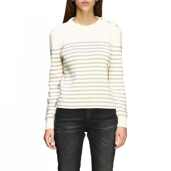 Pullover Saint Laurent a righe lurex con bottoni gioiello