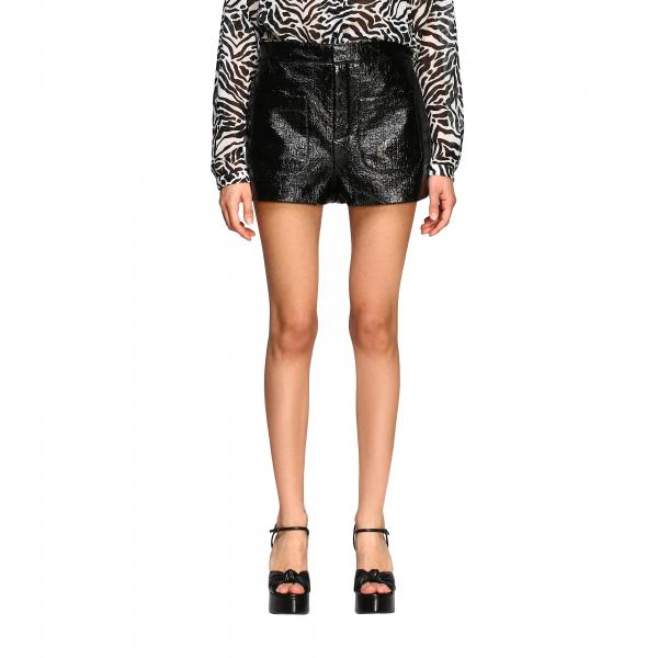 Shorts Saint Laurent a vita alta in twill laccato