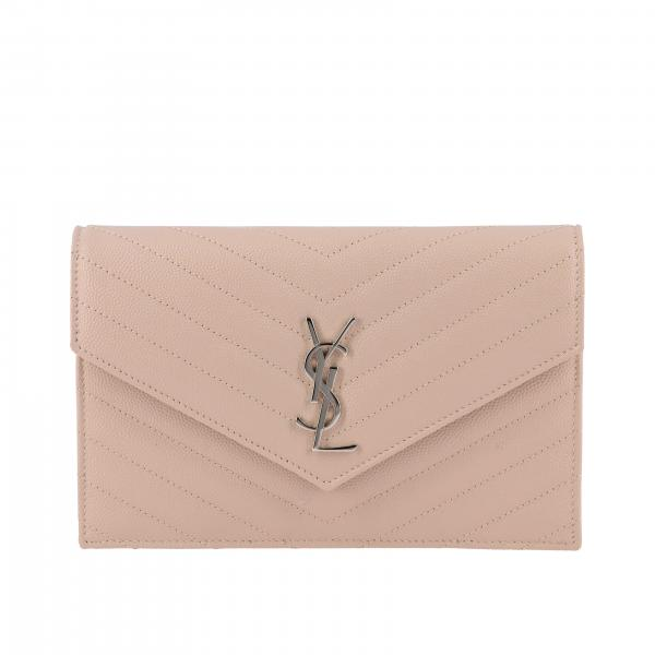 Borsa Monogram envelope chain wallet Saint Laurent in pelle grain de poudre