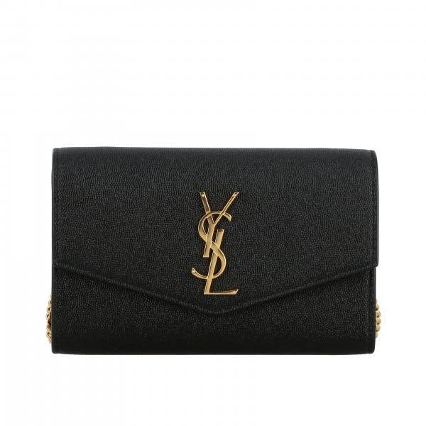 Borsa Uptown chain wallet Saint Laurent in pelle grain de poudre con logo YSL