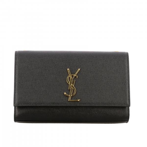 Borsa Monogram kate Saint Laurent in pelle grain de poudre con logo YSL