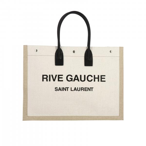 Saint Laurent Noe linen bag with Rive Gauche print