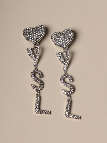 Saint Laurent earrings with rhinestone heart and logo