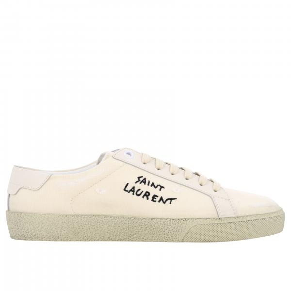 Saint Laurent Canvas Sneaker mit gesticktem Logo