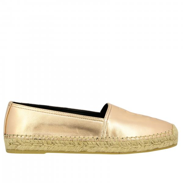 Espadrillas Saint Laurent in pelle laminata con logo embossed