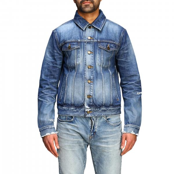 Saint Laurent Jeansjacke aus used Denim mit Rissen