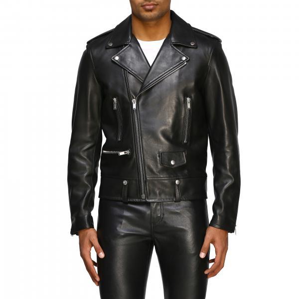 Saint Laurent full zip studded leather jacket