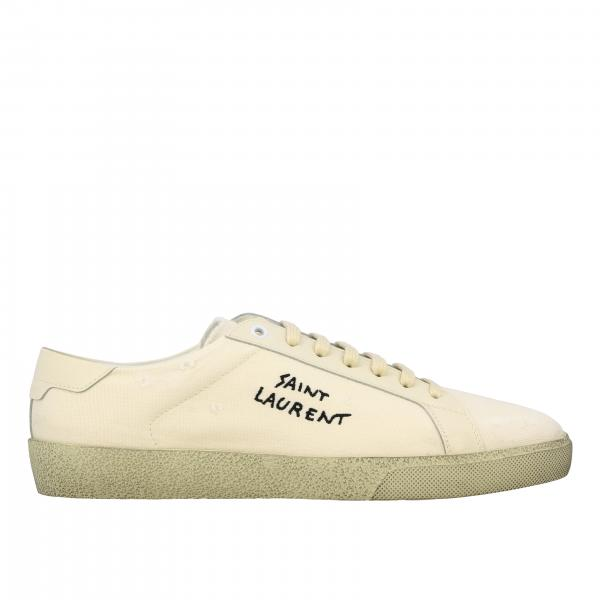 Saint Laurent Sneakers aus Canvas mit gesticktem Logo