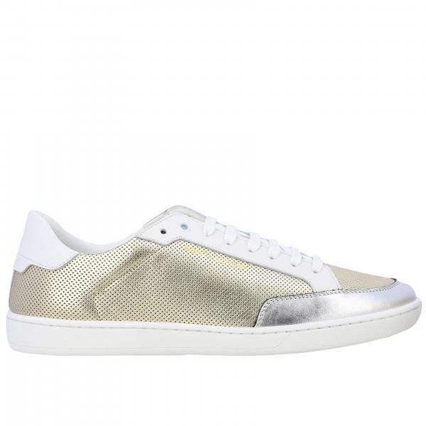 Niedrige Saint Laurent Sneakers aus laminiertem und perforiertem Leder