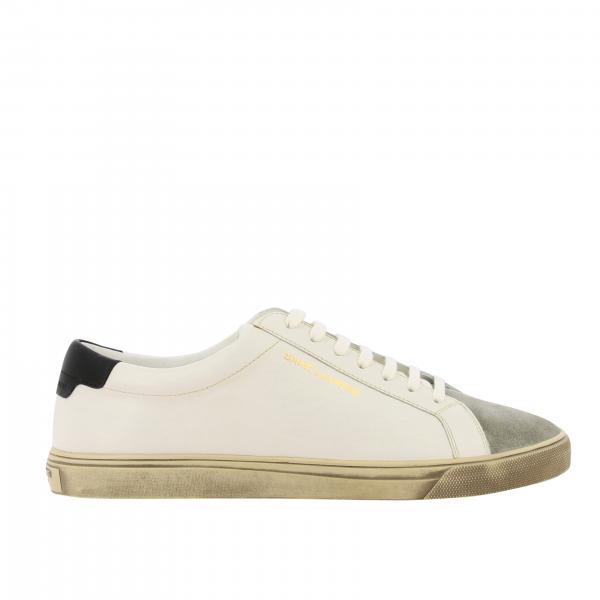 Sneakers Andy Saint Laurent in pelle e camoscio con logo ricamato