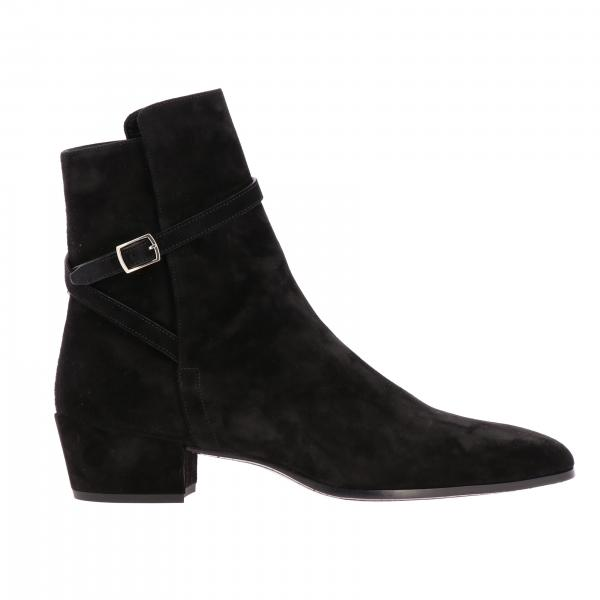 Saint Laurent ankle boot in suede with buckle