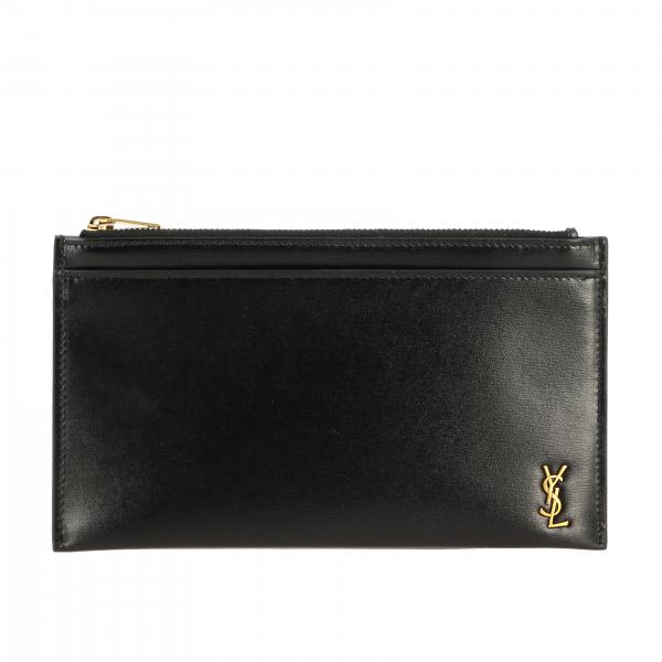 Mini Saint Laurent leather clutch bag with YSL monogram