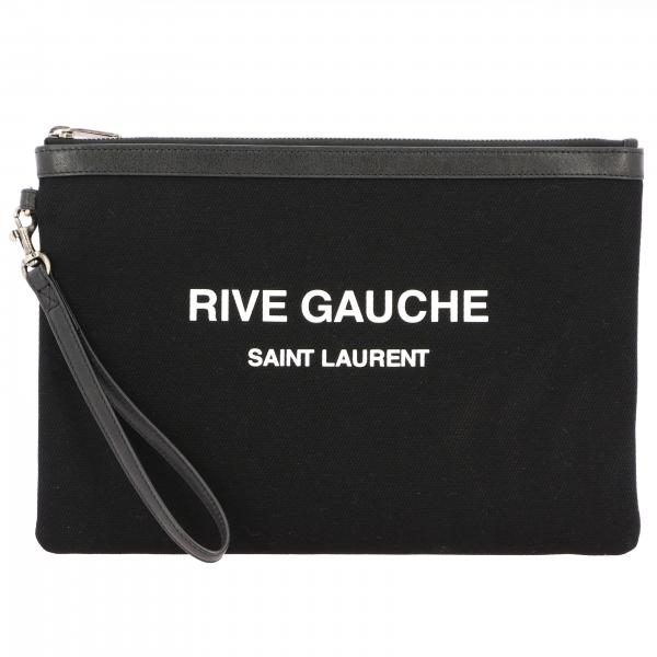 Saint Laurent clutch bag in canvas with Rive Gauche writing