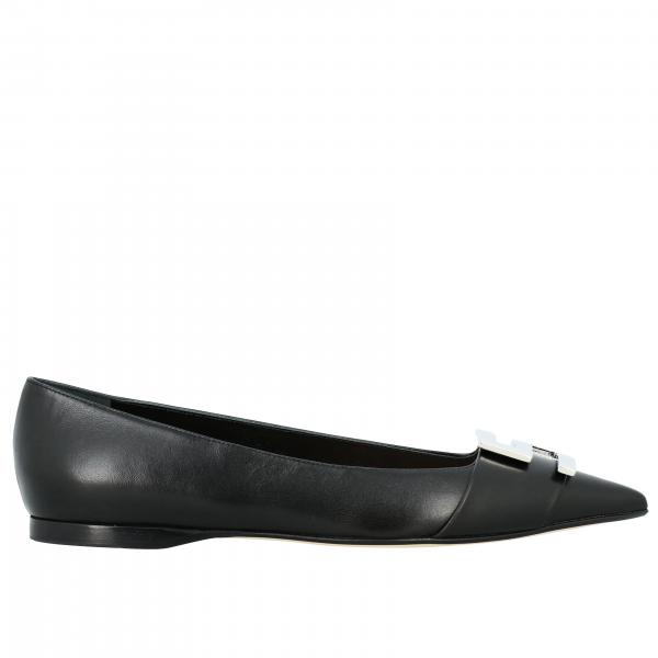 Sergio Rossi Logomaniac ballerina in leather with logo