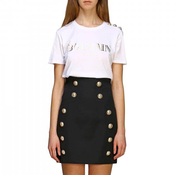 Balmain T-shirt with logo and jewel buttons