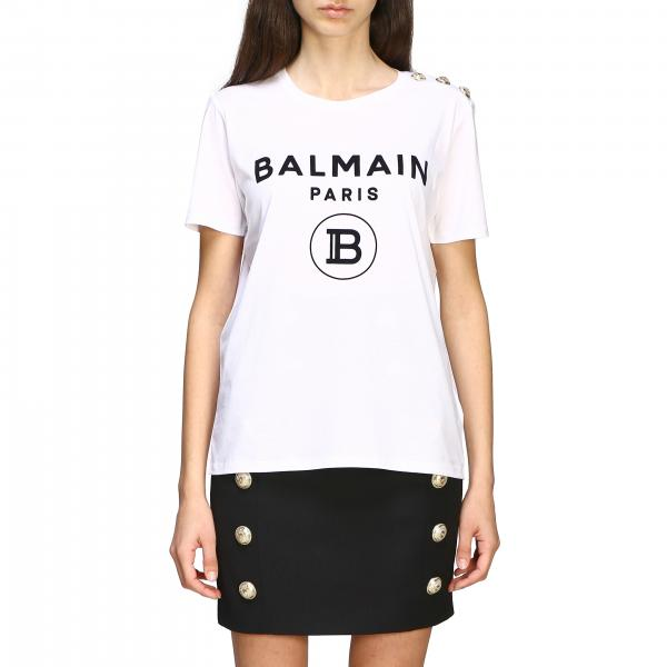 Balmain T-shirt with jewel buttons on the shoulder