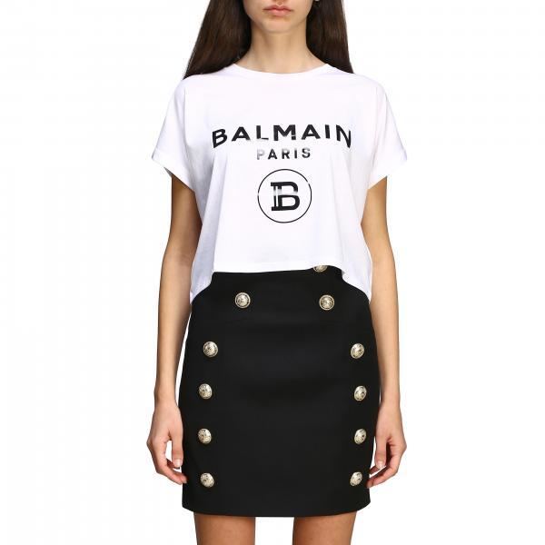Balmain logo印花短款T恤
