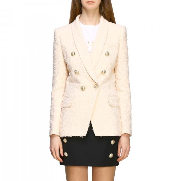 Balmain double-breasted tweed jacket with jewel buttons