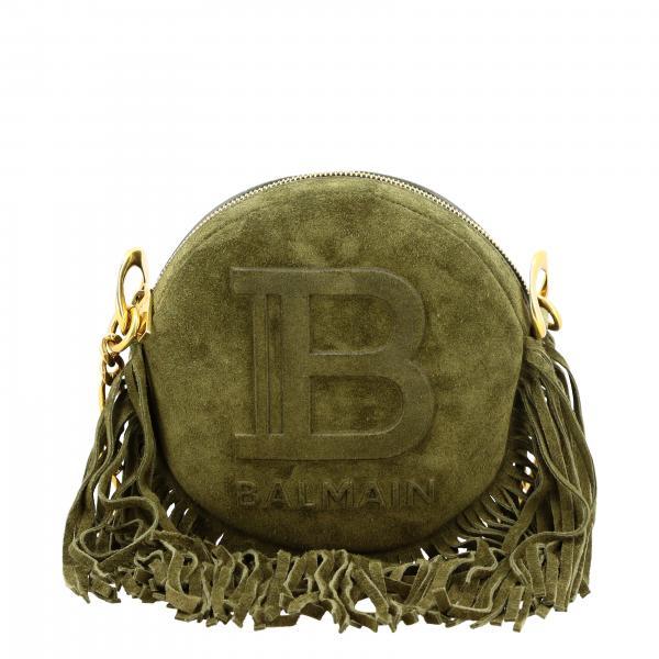 Balmain B装饰和流苏绒面革圆形手袋