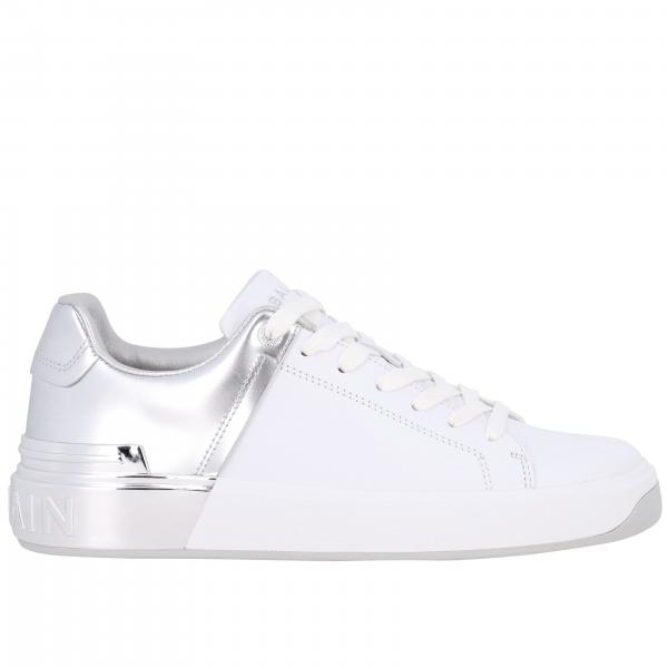 Balmain leather sneakers with laminated heel and logo