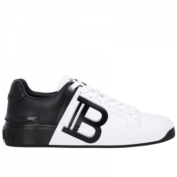 Balmain sneakers in bicolor leather with logo